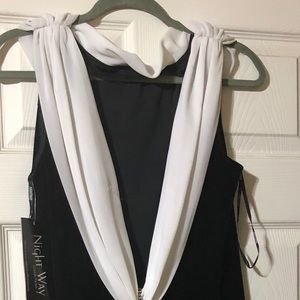 Nightway Long Black & White Gown size 14